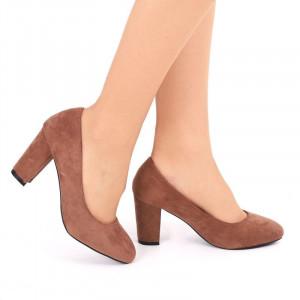 Pantofi cu toc cod EK0005 Maro