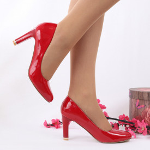 Pantofi cu toc cod EK0007 Roși