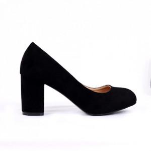 Pantofi cu toc cod EK0008 Negri - Pantofi cu toc din piele ecologică cu un design unic, fii în pas cu moda şi străluceşte la următoarea petrecere. - Deppo.ro