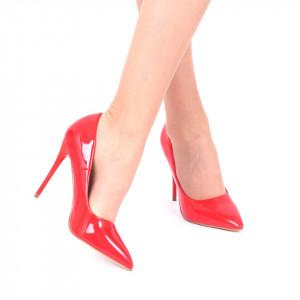 Pantofi cu toc cod EK0097 Roși - Pantofi din piele ecologică, cu vârf ascuţit şi toc subţire, foarte confortabili cu un calapod comod - Deppo.ro