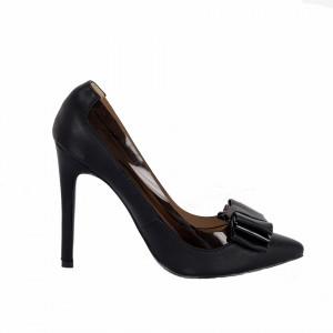 Pantofi cu toc cod FNA120112 Negri - Pantofi cu vârf ascuțit din piele ecologică întoarsă, foarte confortabili cu un calapod comod - Deppo.ro