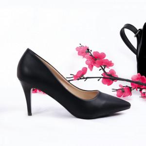 Pantofi cu toc cod OD0076 Negri - Pantofi cu toc din piele ecologică cu un design unic, fii în pas cu moda şi străluceşte la următoarea petrecere. - Deppo.ro