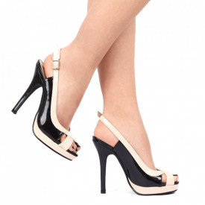 Pantofi cu toc cod SA1712 Negri