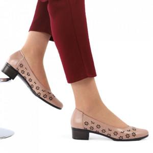 Pantofi cu toc din piele naturală cod 1141 Cafeniu