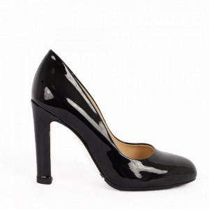 Pantofi cu toc din piele naturală cod 4118 Black V