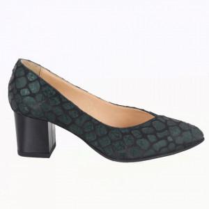 Pantofi cu toc din piele naturală cod 820 Verde