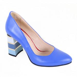 Pantofi cu toc din piele naturală cod 86 Albastru