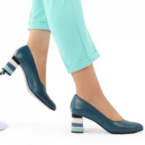 Pantofi cu toc din piele naturală cod S20 Turcoaz