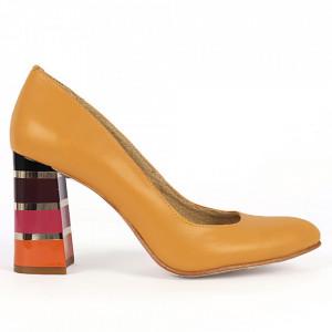 Pantofi cu toc din piele naturală Cod S21 Muștariu