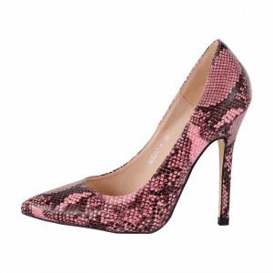 Pantofi Cu Toc Kathleen Pink - Pantofi din piele ecologică, cu vârf ascuţit şi toc subţire, foarte confortabili cu un calapod comod - Deppo.ro