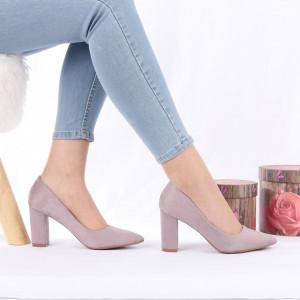 Pantofi Cu Toc Lea Purple