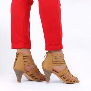 Pantofi cu toc pentru dame cod B563 Brown - Pantofi cu toc pentru dame din piele ecologică - Deppo.ro
