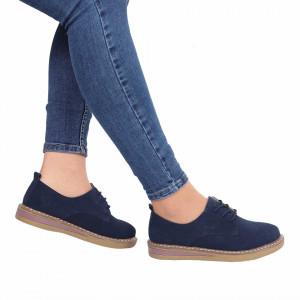Pantofi din piele naturală Aisha Navy