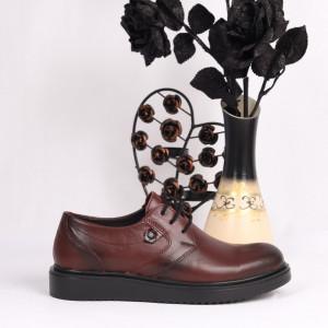 Pantofi din piele naturală bordo Cod 1048 - Pantofi damă din piele naturală Închidere cu şiret Calapod comod - Deppo.ro