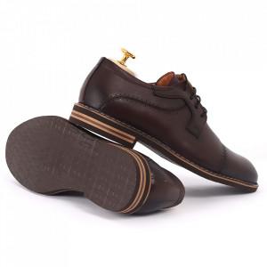 Pantofi din piele naturală bordo cod 77133 - Pantofi pentru bărbaţi din piele naturală, model simplu, finisaje îngrijite cu undesign deosebit - Deppo.ro