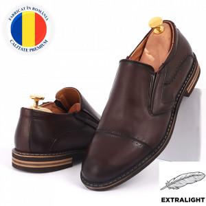 Pantofi din piele naturală bordo cod 77141