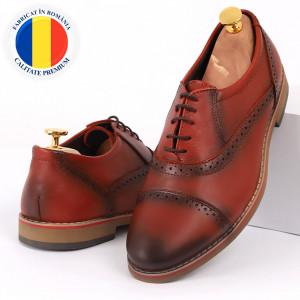 Pantofi din piele naturală cărămiziu cod 3227