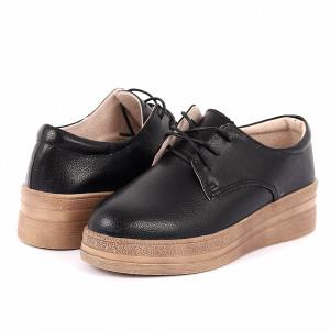 Pantofi din piele naturală cod 1012 Negri