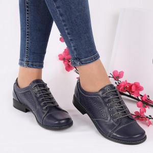 Pantofi din piele naturală cod 110538 Bleumarin