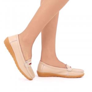 Pantofi din piele naturală cod 1117 Bej