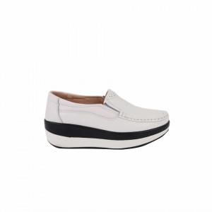 Pantofi din piele naturală cod 1156 Albi
