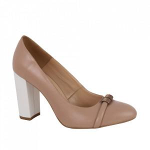 Pantofi din piele naturală cod 12617 Beige