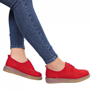 Pantofi din piele naturală cod 65521 Roși - Pantofi Roșii pentru dame din piele naturală cu talpă flexibilă - Deppo.ro