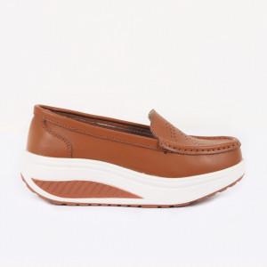 Pantofi din piele naturală cod A339 Camel
