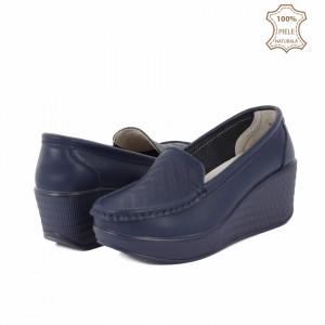 Pantofi din piele naturală cod H1789 Navy