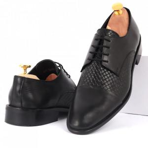Pantofi din piele naturală cod KING-B2 Negri