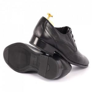 Pantofi din piele naturală Fox02 Negri - Pantofi din piele naturală pentru bărbați, model simplu, finisaje îngrijite cu undesign deosebit - Deppo.ro
