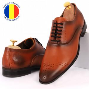 Pantofi din piele naturală maro cod 963-BROWN