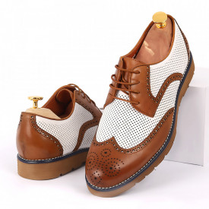 Pantofi din piele naturală maro cu alb cod 3258