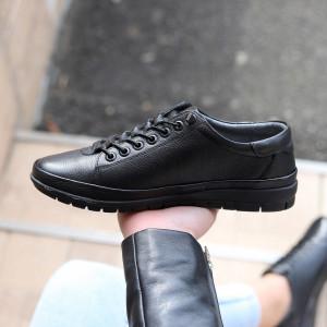 Pantofi din piele naturală Negri Cod 6634