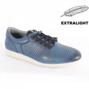 Pantofi din piele naturală pentru bărbați cod 1921 Blue
