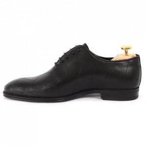 Pantofi din piele naturală pentru bărbați cod 2020 Negri - Pantofi din piele naturală pentru bărbaţi, model simplu, finisaje îngrijite cu un design deosebit - Deppo.ro