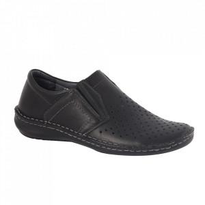Pantofi din piele naturală pentru bărbați cod 203320 Negru