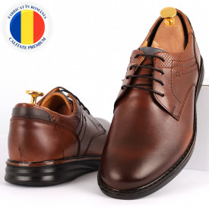 Pantofi din piele naturală pentru bărbați cod 2766 Maro