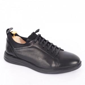 Pantofi din piele naturală pentru bărbați cod 325-1 Negru
