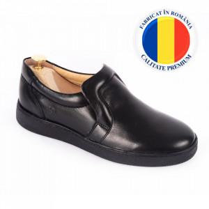 Pantofi din piele naturală pentru bărbați cod 336 Negru