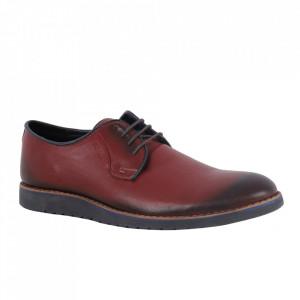 Pantofi din piele naturală pentru bărbați cod 866 Visiniu
