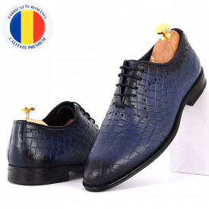 Pantofi din piele naturală pentru bărbați cod 9133 Albaştri
