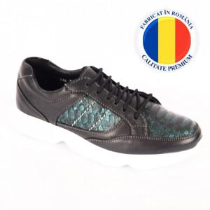 Pantofi din piele naturală pentru dame cod 234-1 Negru