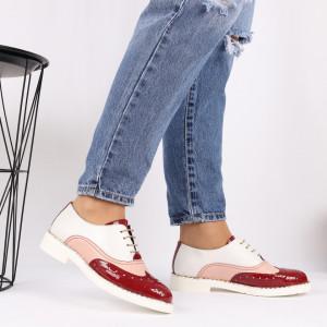 Pantofi din piele naturală rosie Cod 490