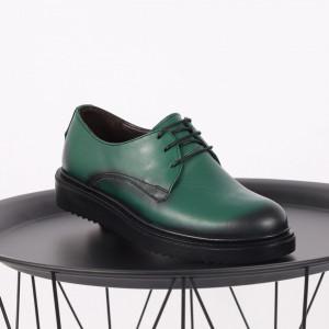Pantofi din piele naturală verde Cod 483