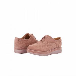 Pantofi pentru dame cod BL00086 Roz - Pantofi pentru dame, din piele ecologica întoarsă, cu închidere prin șiret - Deppo.ro
