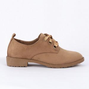 Pantofi pentru dame cod LL86 Kaki - Pantofii îți transformă limbajul corpului și atitudinea. Te înalță fizic și psihic!  Pantofi pentru dame din piele ecologică întoarsă - Deppo.ro