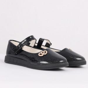 Pantofi pentru fete cod CP66 Negri - Pantofi pentru fete cu un design lejer ceea ce ii face foarte comozi la purtare - Deppo.ro