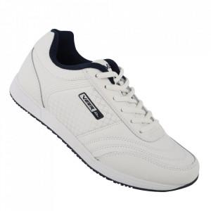 Pantofi sport din piele naturală pentru bărbați cod 1347-1 White/Blue