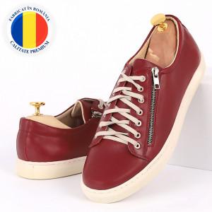 Pantofi sport din piele naturală vişinii cod 3283